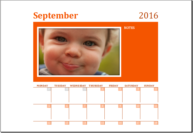 MS Excel Printable Calendar Template for 2016 | Excel Templates