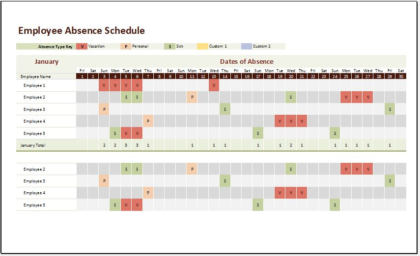 Ms Excel Employee Absence Schedule Template | Excel Templates