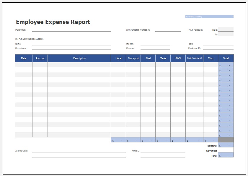 Excel Template Expense Report from www.xltemplates.org
