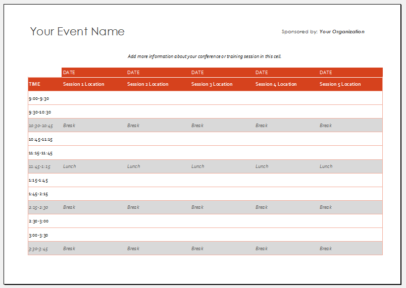 Event schedule template