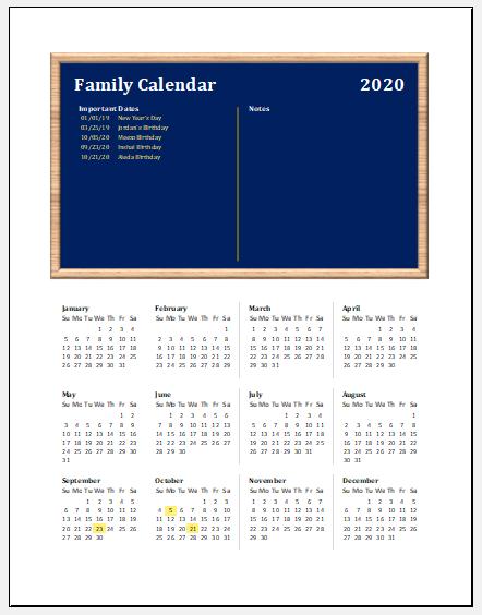 Family event calendar template -1
