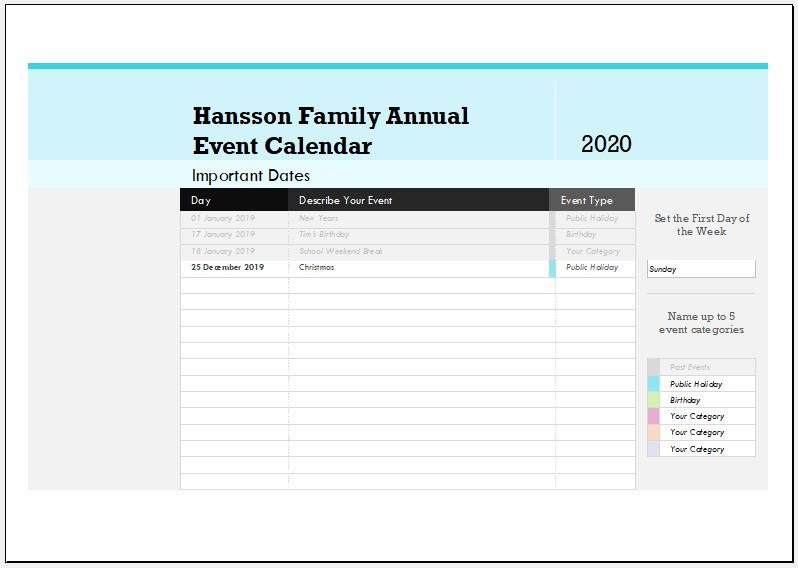 Family event calendar template