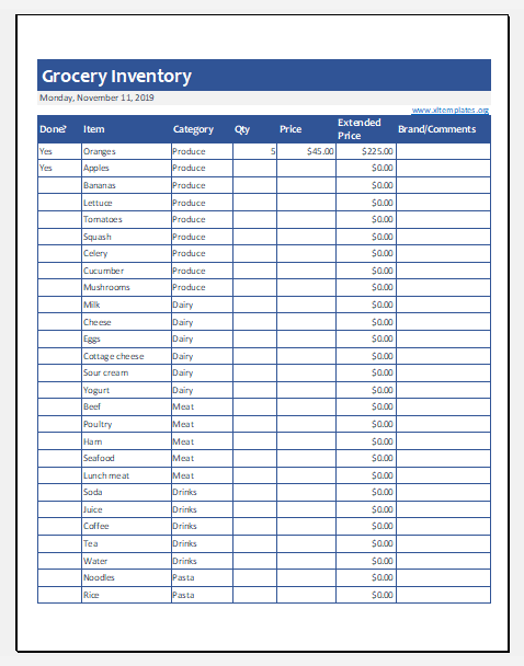 Grocery Inventory Template For Ms Excel Excel Templates