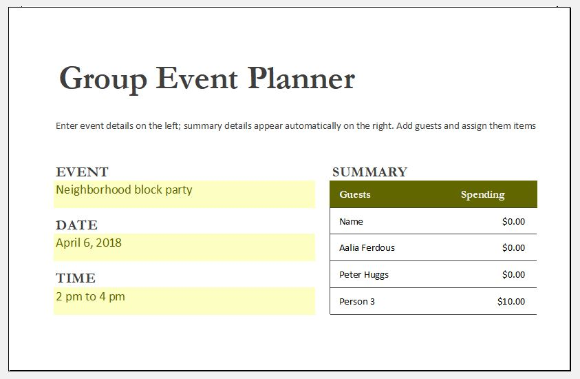 Group event planner template