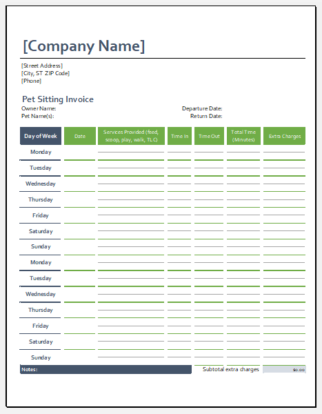 Pet sitting invoice template for Excel