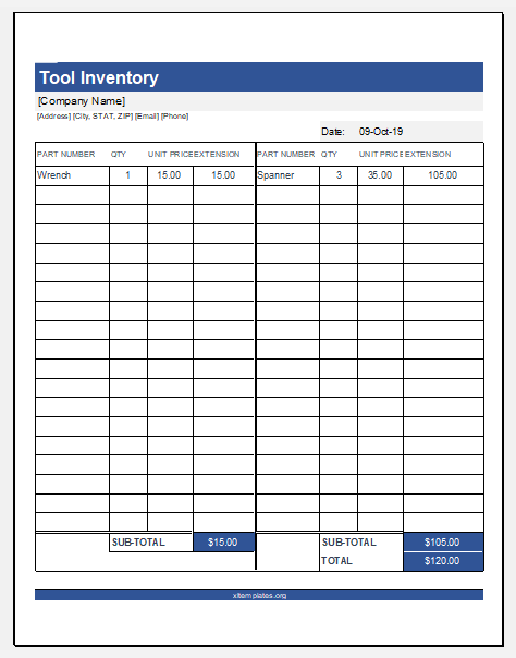 Printable Tool Inventory Template For Excel Excel Templates