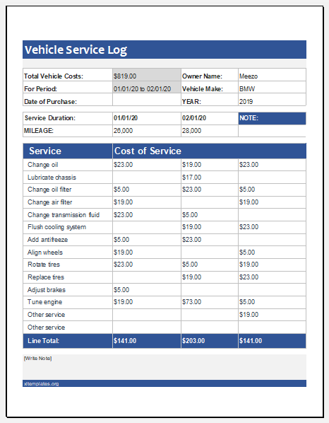Vehicle Service Log Template In Excel Worksheet Excel Templates