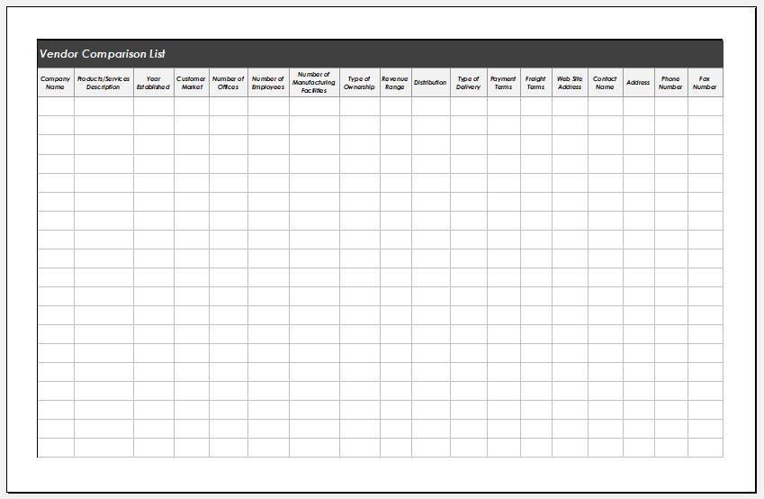 Vendor Comparison List Template for Excel