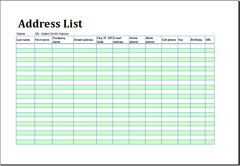 Printable Address Listbook Template For Ms Excel Excel Templates