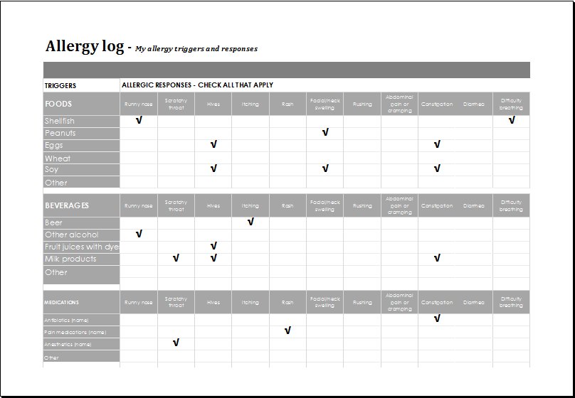 Ms Excel Editable Printable Allergy Log Template Excel Templates