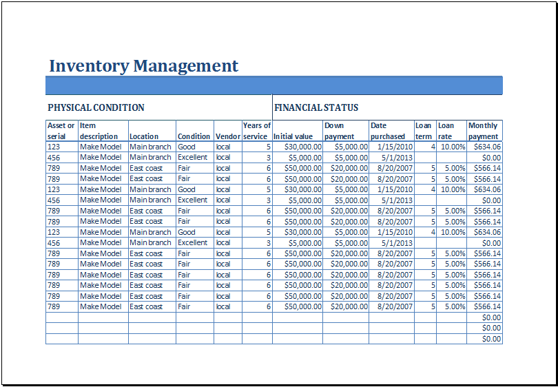 Excel Business Inventory Management Template – Supply Inventory Template