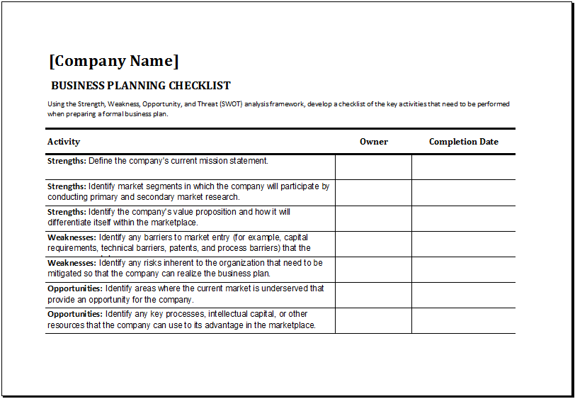Ms excel business planning checklist template excel for Loan processing checklist template