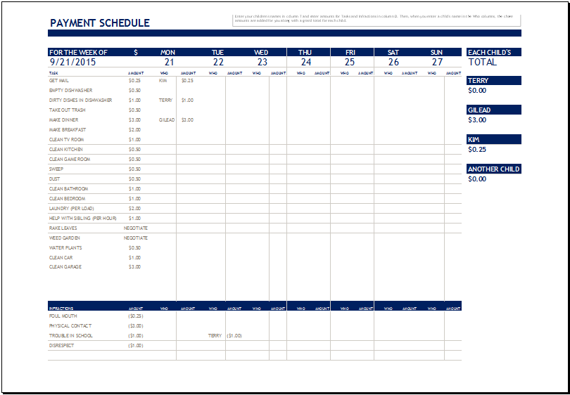 Chore Payment Schedule Template For Ms Excel Excel Templates