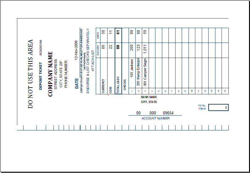 Excel deposit ticket template