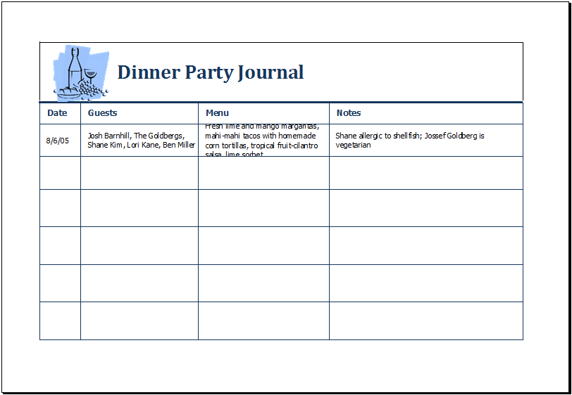 dinner party journal template ms excel excel templates