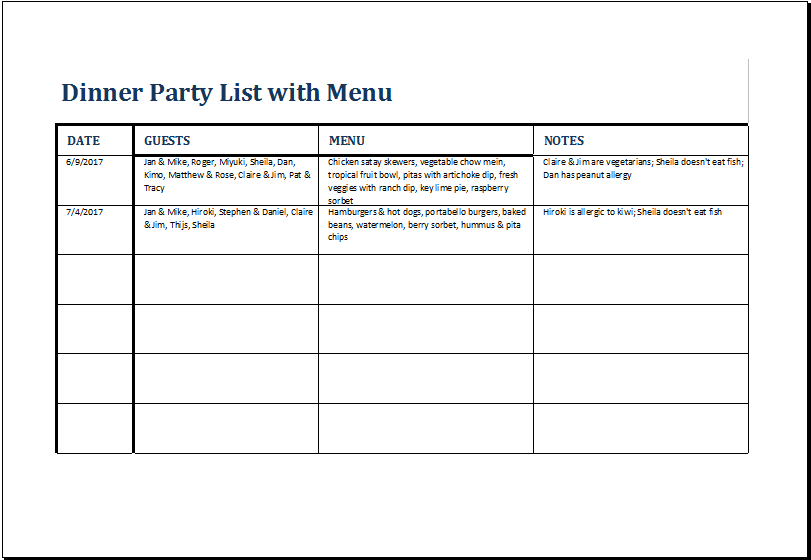 Dinner Party List With Menu Template For Excel Excel