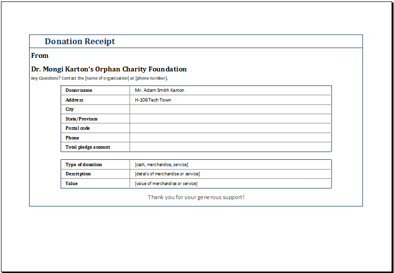 MS Excel Editable Printable Donation Receipt Template – Non Cash Charitable Contributions Worksheet