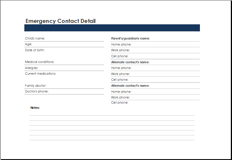 Printable Excel Emergency Contact List Template | Excel Templates