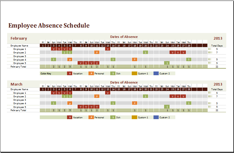 MS Excel Employee Absence Schedule Template – Sample Attendance Tracking