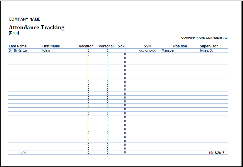 Excel Employee Attendance Tracker Template – Sample Attendance Tracking