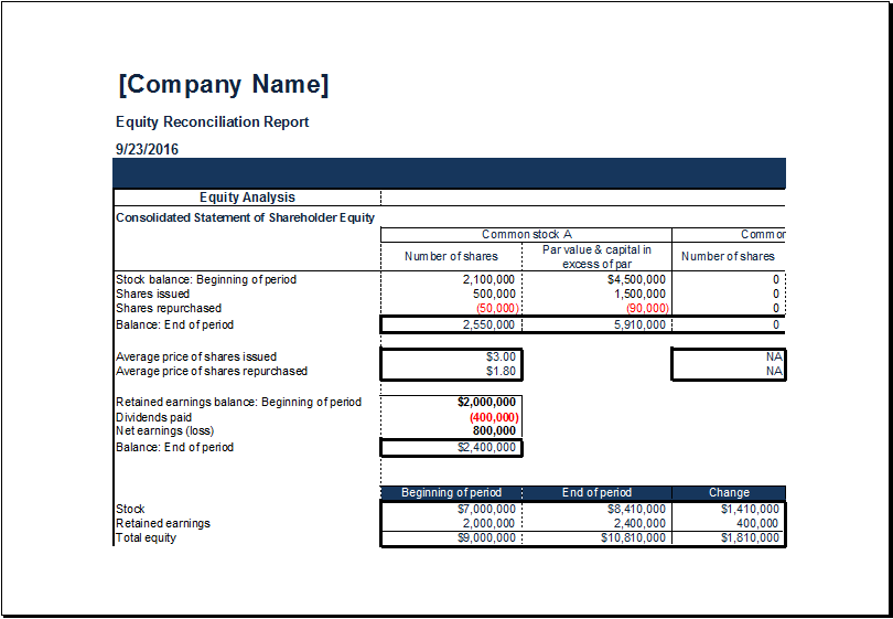 MS Excel Equity Reconciliation Report Template – Reconciliation Template