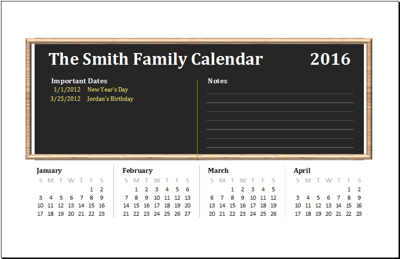 Ms Excel Printable Family Calendar Template Excel Templates