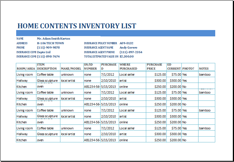 Excel Home Contents Inventory List Template – House Inventory List Template