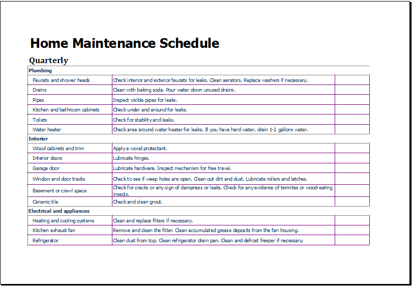 home maintenance schedule template for excel