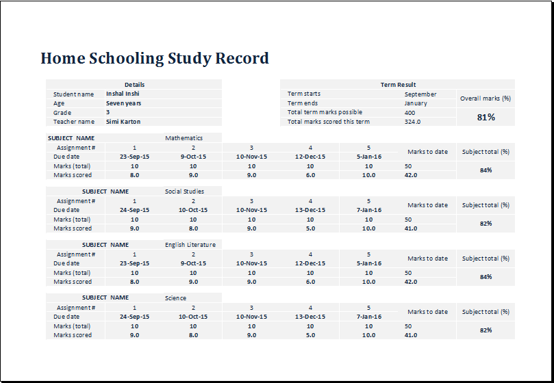 home schooling study record template