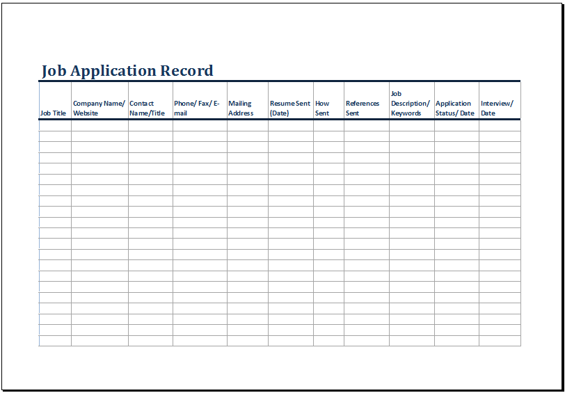 Printable Job Application Log Template Ms Excel Excel . Job Worksheet  Template  Excel Job Sheet Template