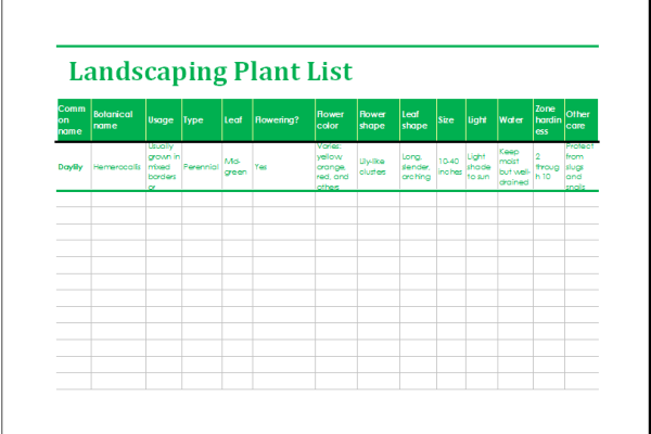 Excel worksheets templates for Landscaping tools list
