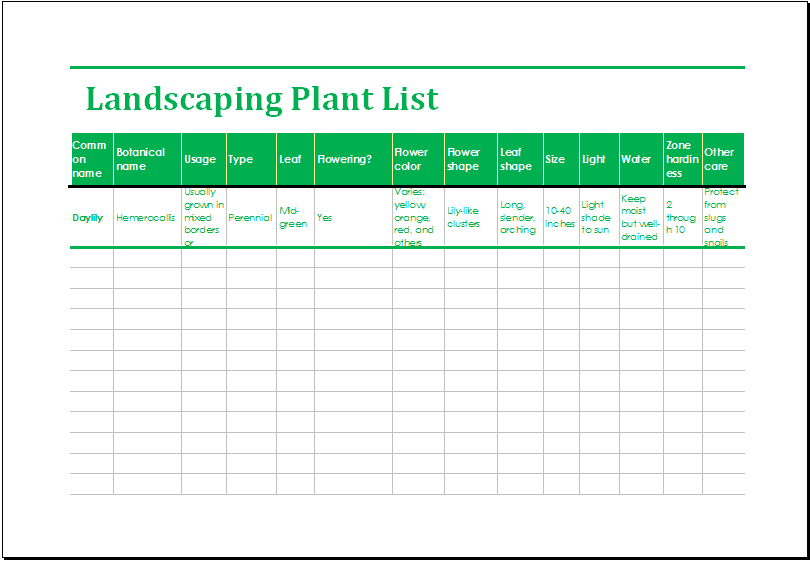 Landscaping plant list template ms excel excel templates for Garden maintenance checklist