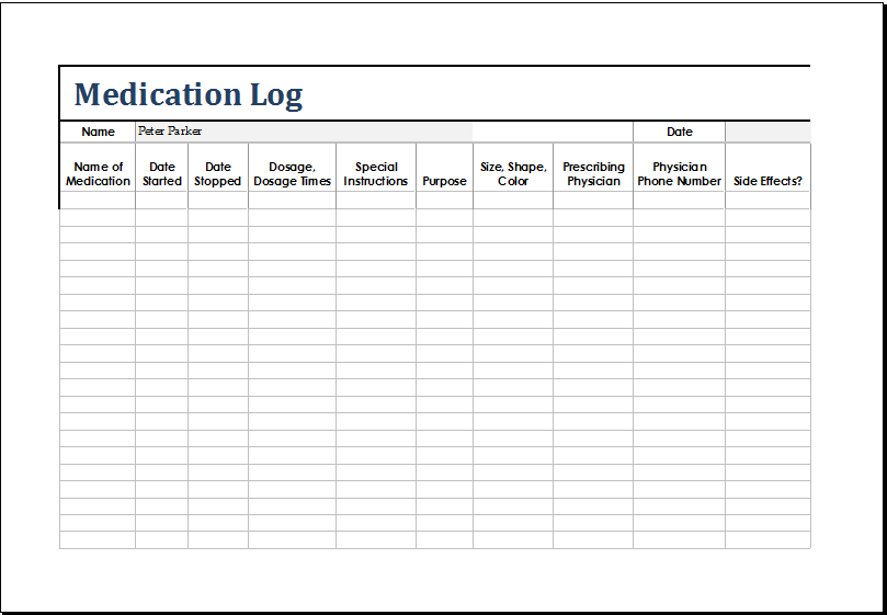 MS Excel Patient Medication Log Template | Excel Templates