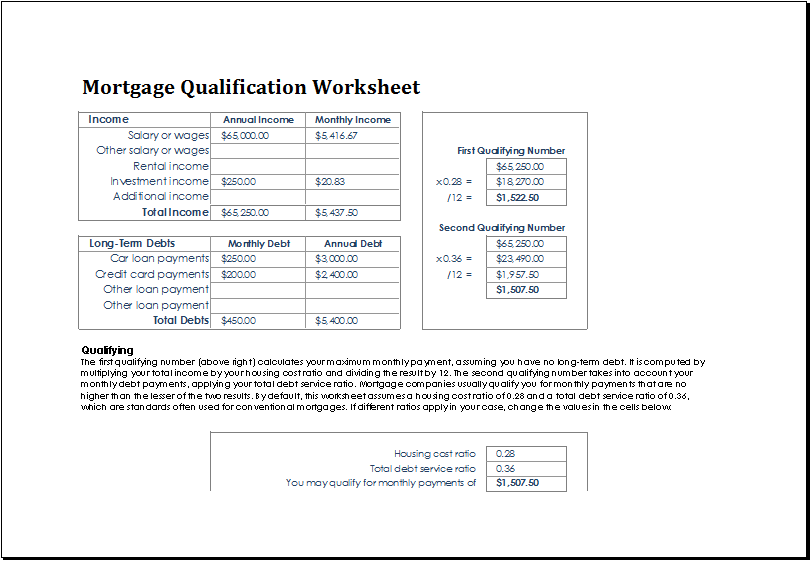 MS Excel Mortgage Qualification Worksheet Template | Excel Templates