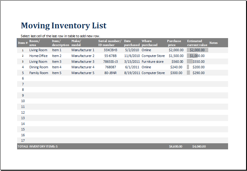 MS Excel Printable Moving Inventory List Template – Inventory List