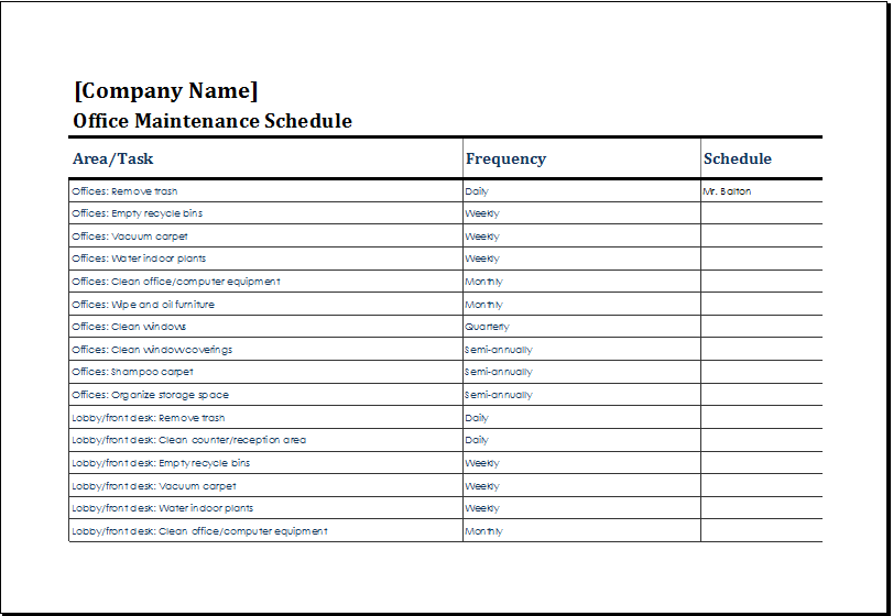 office maintenance schedule template