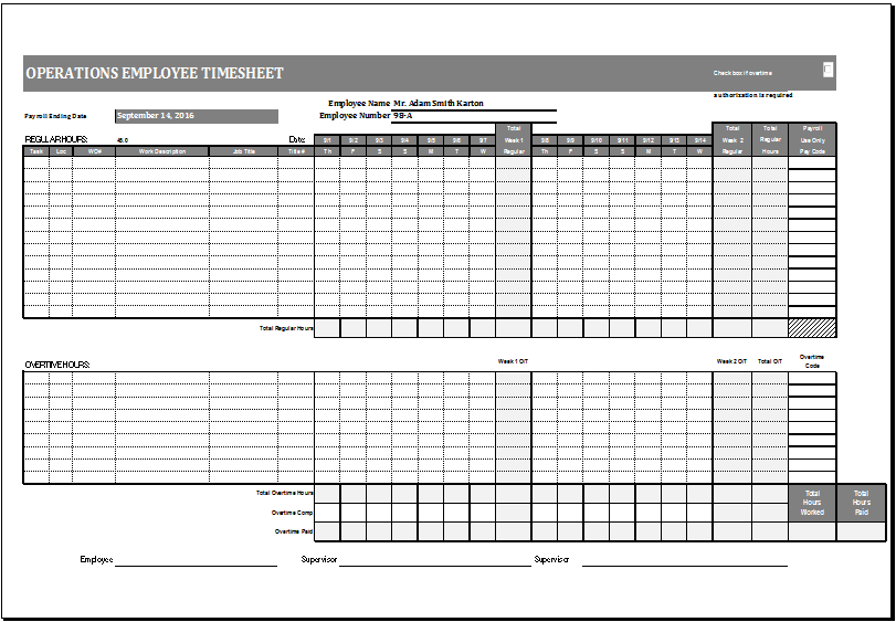 Operations Employee Time Card Template MS Excel | Excel Templates