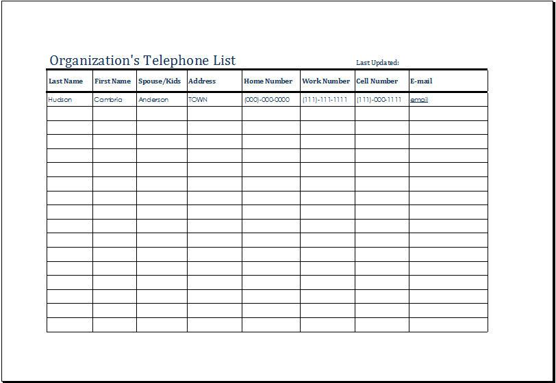 Organizations Telephone List Template – Telephone Number Template