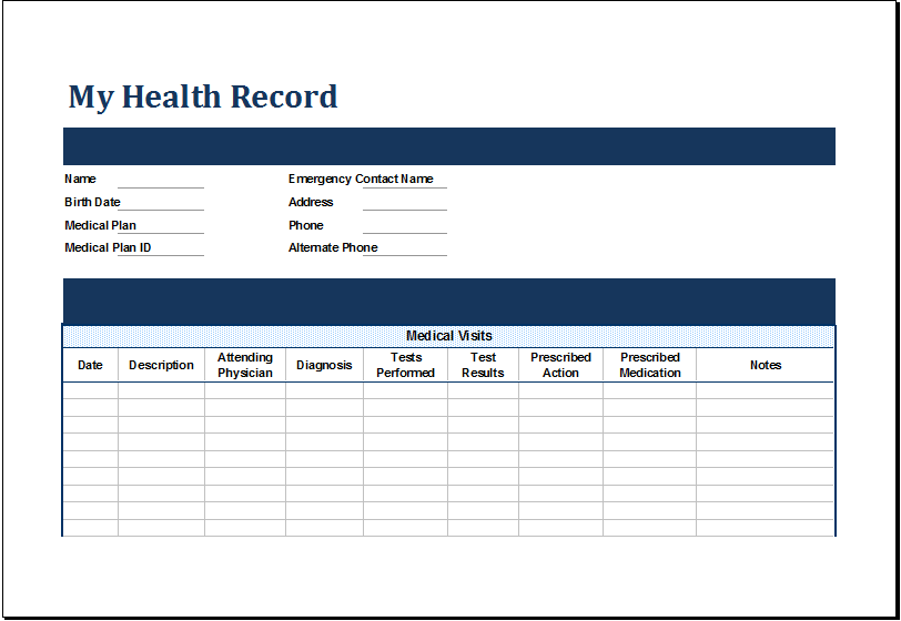 ms excel personal medical health record template excel templates. Black Bedroom Furniture Sets. Home Design Ideas