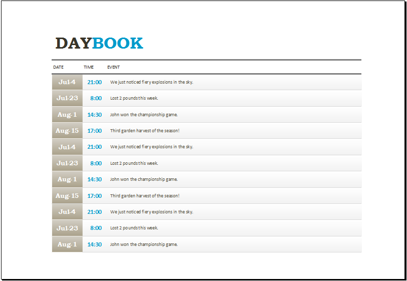 pilot log book template