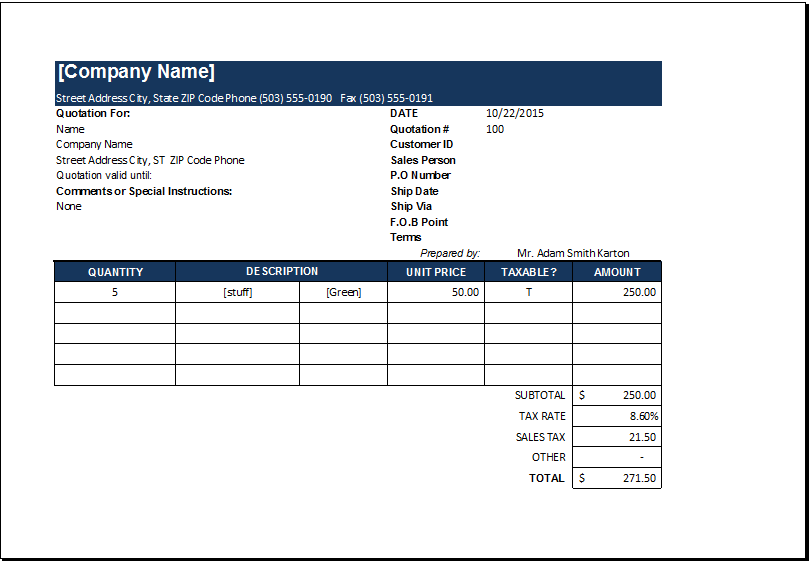 price quotation templates with and without tax excel templates