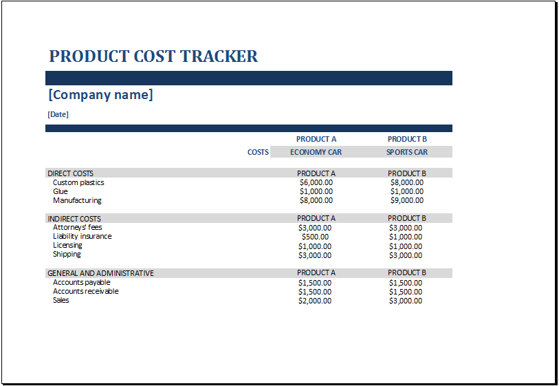 Product cost tracker template