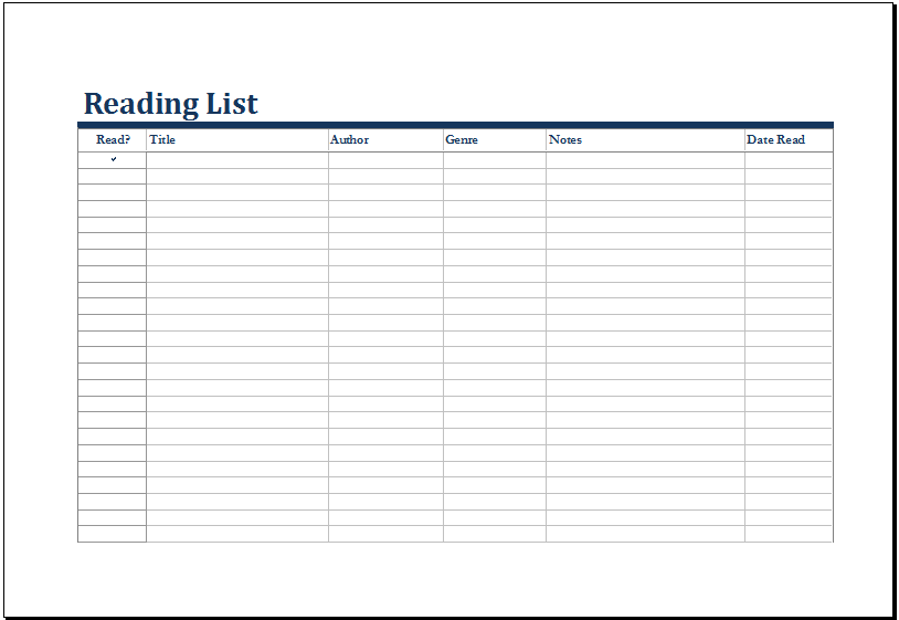MS Excel Printable Reading List Template Excel Templates