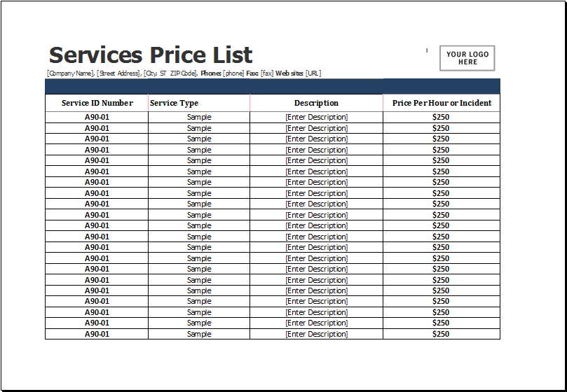 Services Price List Template for MS Excel – Template for Price List