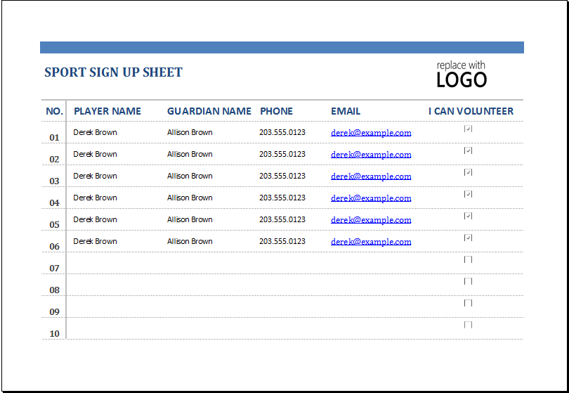 MS Excel Sports Sign Up Sheet Template – Excel Sign in Sheet Template