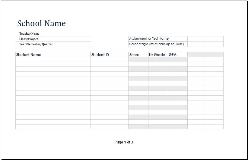 student grade book template