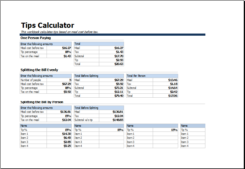 Restaurant Tips Calculator | Excel Templates