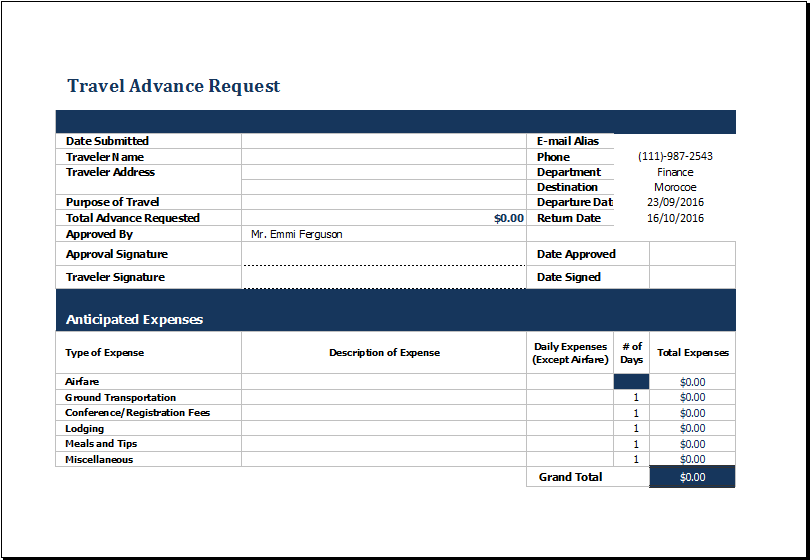 Ms Excel Travel Advance Request Form Template Templates