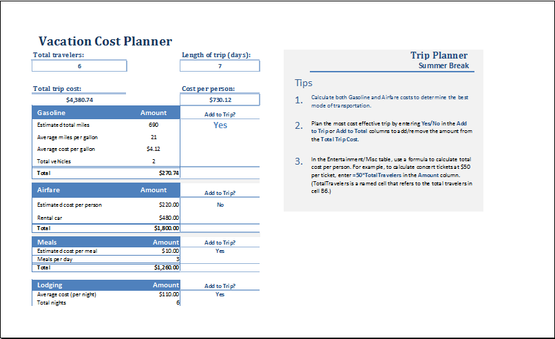 MS Excel Vacation Cost Planner Template – Travel Expense Calculator Template