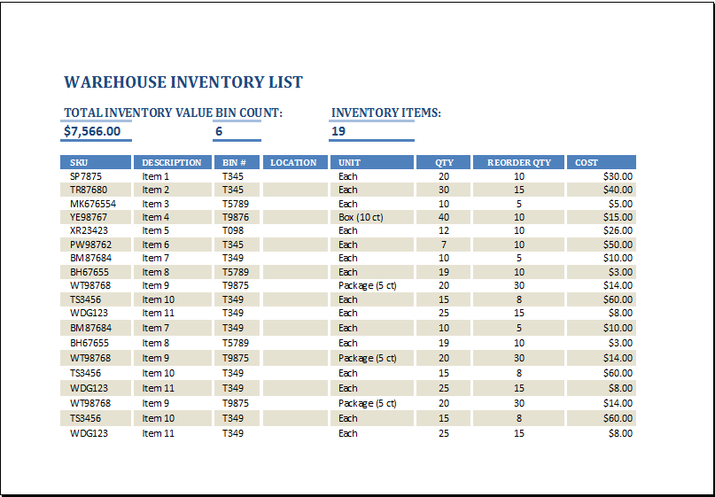 MS Excel Warehouse Inventory List Template – Sample Inventory List
